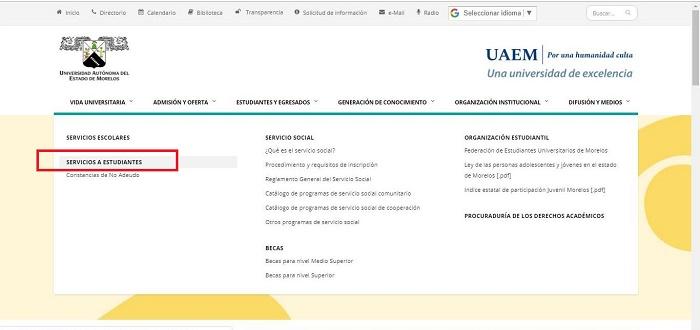 Servicios a estudiantes Kárdex UAEM