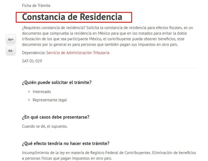 Constancia de Residencia INE