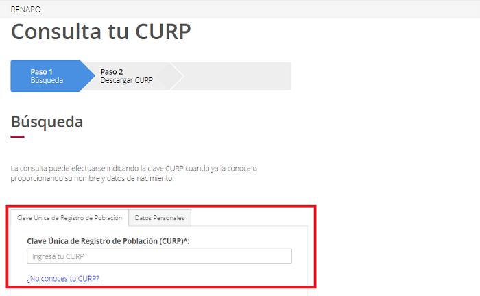 Consulta tu CURP