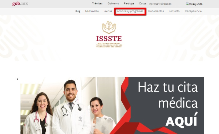 web oficial del issste