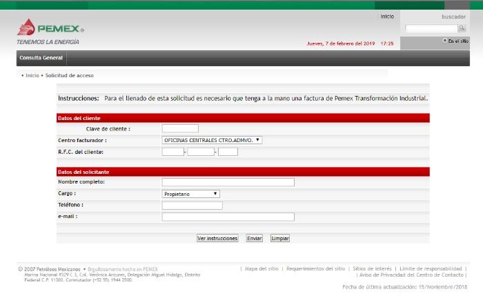 formulario para acceder al sistema